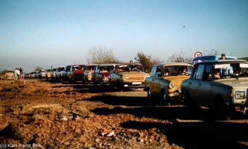 """Trabbis"" eastgerman cars are crossing the open border"