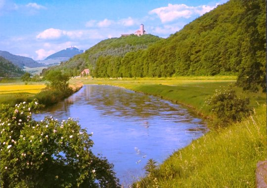 View to Hanstein castle and Ludwigstein castle